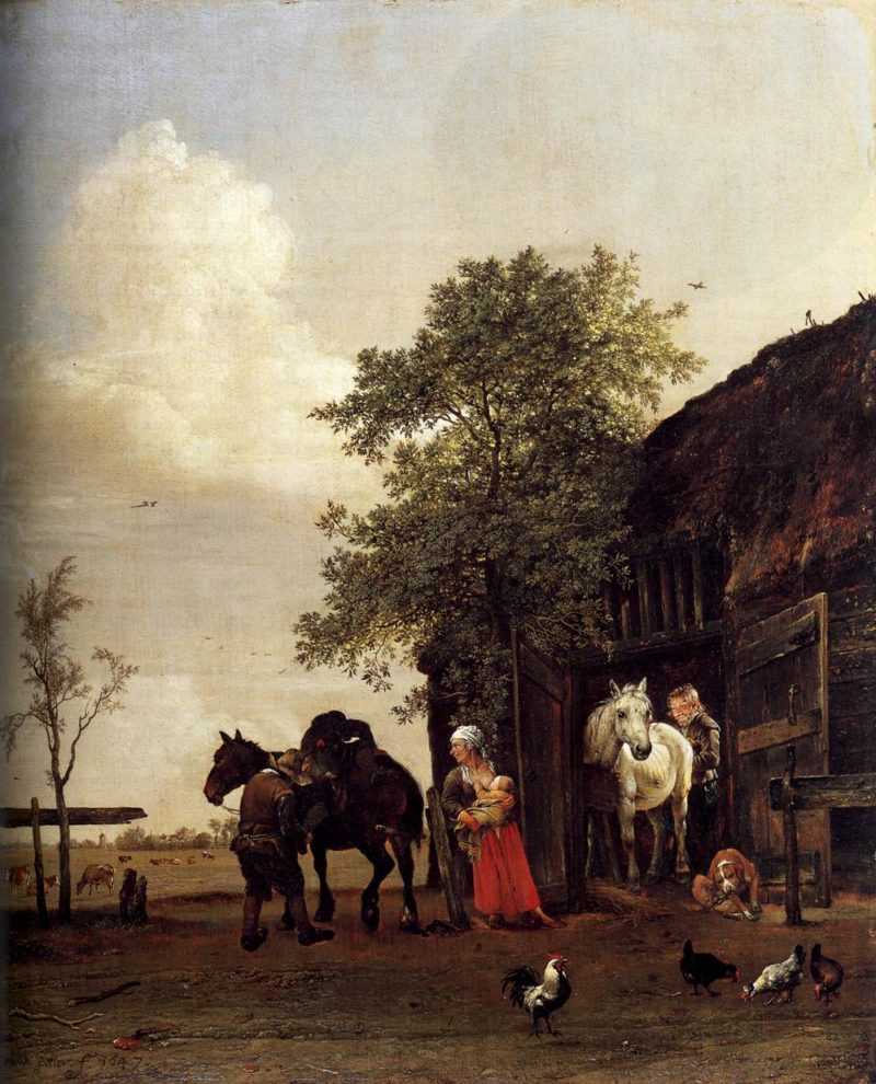 Figures with Horses by a Stable 1647 | Paulus Potter | oil painting