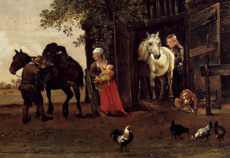 Figures with Horses by a Stable (detail) 1647   Paulus Potter   oil painting