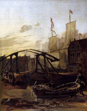 View of a Harbour in Schiedam 1650-52   Adam Pynacker   oil painting