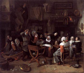 Twin Birth Celebration 1668 | Jan Steen | oil painting