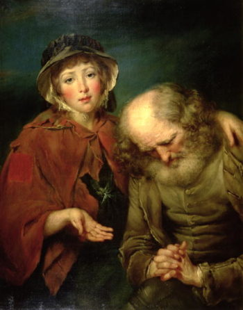 The Blind Beggar and his Grand Daughter | John Russell | oil painting