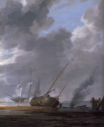 Seascape in the Morning (detail) 1640-45 | Simon De Vlieger | oil painting