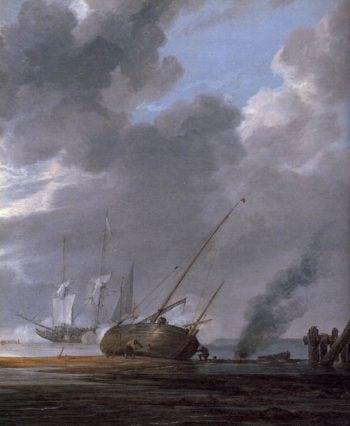 Seascape in the Morning (detail) 1640-45   Simon De Vlieger   oil painting