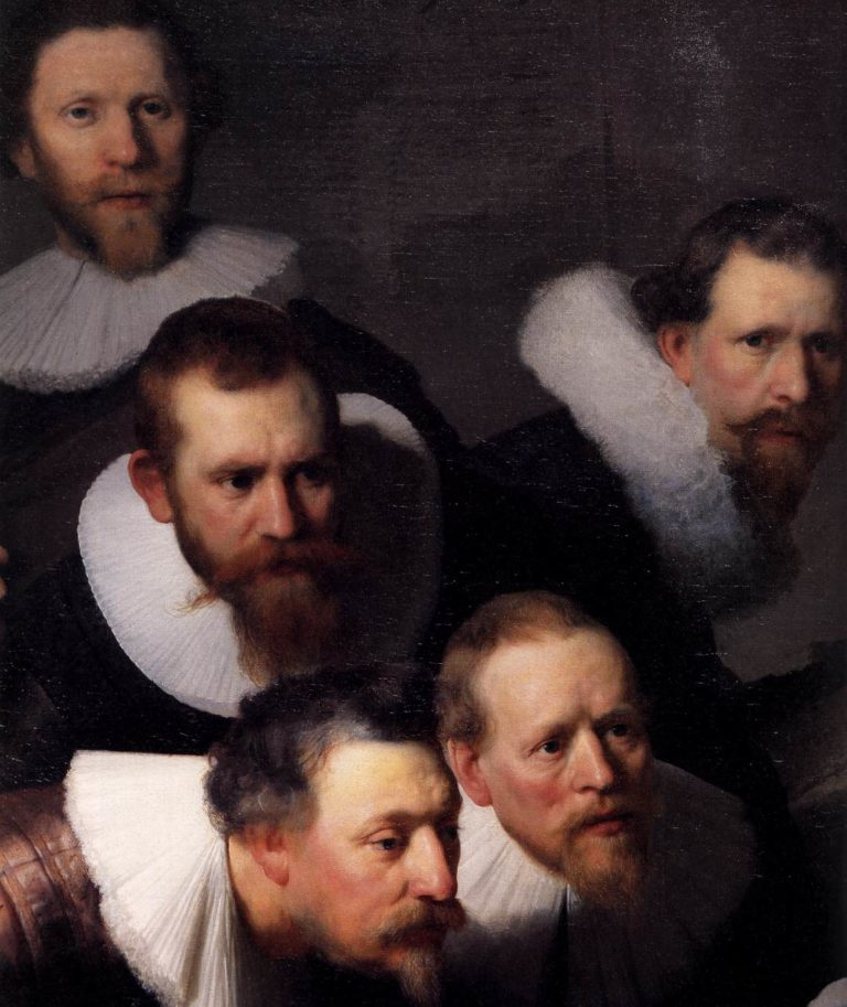 The Anatomy Lecture of Dr. Nicolaes Tulp (detail) 1632 | Rembrandt Harmenszoon Van Rijn | oil painting