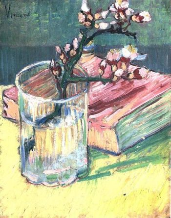 Blossoming Almond Branch in a Glass with a Book | Vincent Van Gogh | oil painting