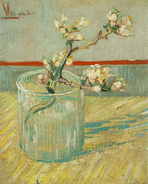 Blossoming Almond Branch in a Glass   Vincent Van Gogh   oil painting