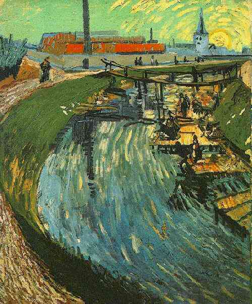 Canal with Women Washing   Vincent Van Gogh   oil painting