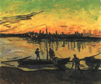 Coal Barges version 2 | Vincent Van Gogh | oil painting