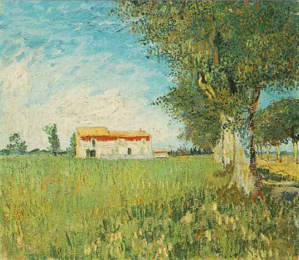 Farmhouse in a Wheat Field | Vincent Van Gogh | oil painting