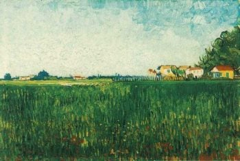 Farmhouses in a Wheat Field Near Arles | Vincent Van Gogh | oil painting
