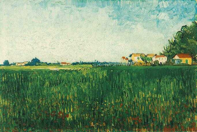 Farmhouses in a Wheat Field Near Arles | Vincent Van Gogh | oil painting