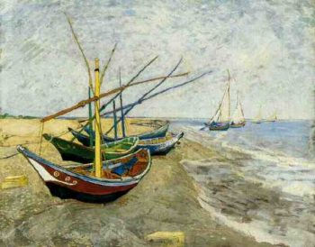 Fishing Boats on the Beach at Saintes-Maries | Vincent Van Gogh | oil painting