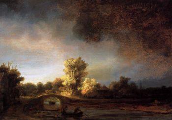 Landscape with a Stone Bridge 1638 | Rembrandt Harmenszoon Van Rijn | oil painting