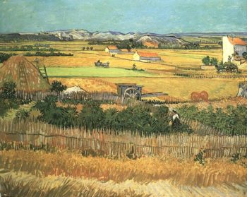 Harvest at La Crau with Montmajour in the Background | Vincent Van Gogh | oil painting