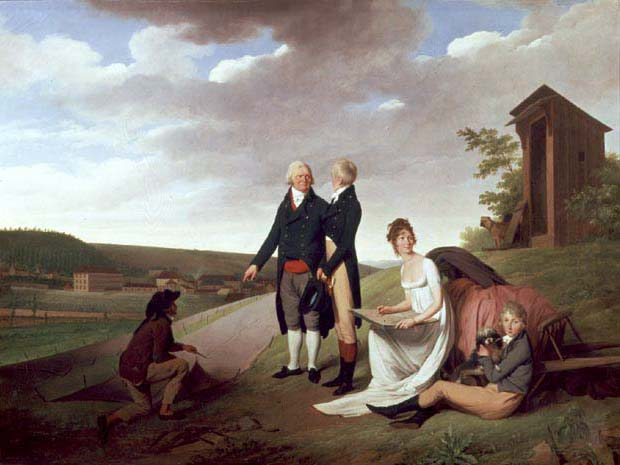 Christophe Philippe Oberkampf and family in front of his factory at Jouy 1803 | Louis Leopold Boilly | oil painting