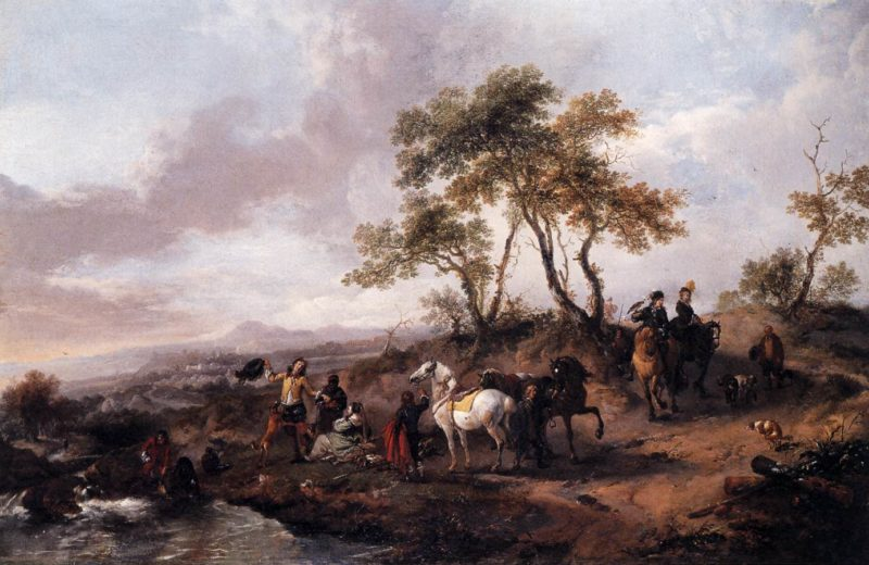 Halt of a Hunting Party 1665 | Philips Wouwerman | oil painting