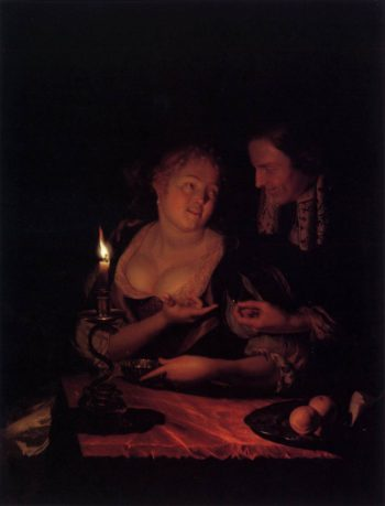 Gentleman Offering a Lady a Ring in a Candlelit Bedroom 1698 | Godfried Schalcken | oil painting