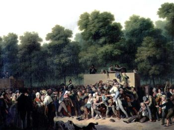 The Distribution of Food and Wine on the Champs Elysees 1822 | Louis Leopold Boilly | oil painting