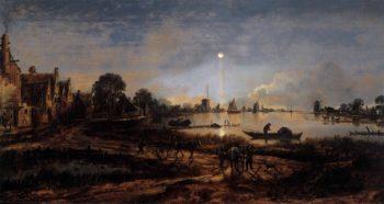 River View by Moonlight 1645 | Aert Van Der Neer | oil painting