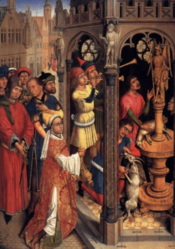 St Augustine Sacrificing to a Manichaean Idol 1480 | Flemish Unknown Master | oil painting