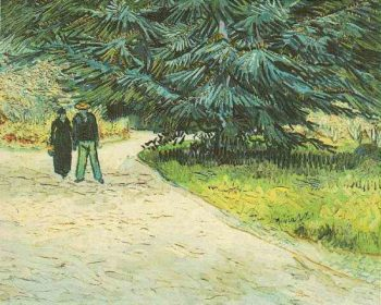 Public Garden with Couple and Blue Fir Tree The Poets Garden III | Vincent Van Gogh | oil painting