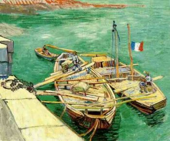 Quay with Men Unloading Sand Barges | Vincent Van Gogh | oil painting