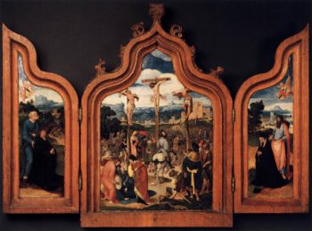Triptych with the Crucifixion and Donors 1525   Netherlandish Unknown Master   oil painting