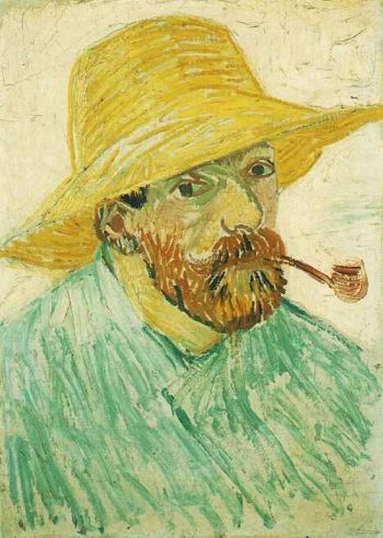 Self-Portrait with Pipe and Straw Hat | Vincent Van Gogh | oil painting