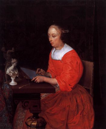 A Lady Drawing 1665 | Eglon Van Der Neer | oil painting