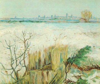 Snowy Landscape with Arles in the Background | Vincent Van Gogh | oil painting