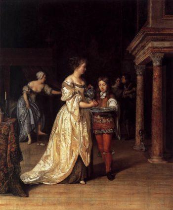 Woman Washing Her Hands 1675 | Eglon Van Der Neer | oil painting
