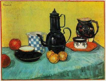 Still Life Blue Enamel Coffeepot Earthenware and Fruit | Vincent Van Gogh | oil painting