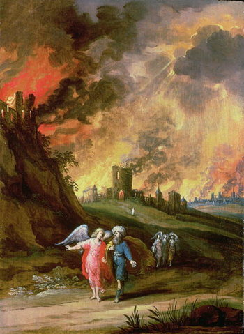 Lot and His Daughters Leaving Sodom | Louis de Caullery | oil painting