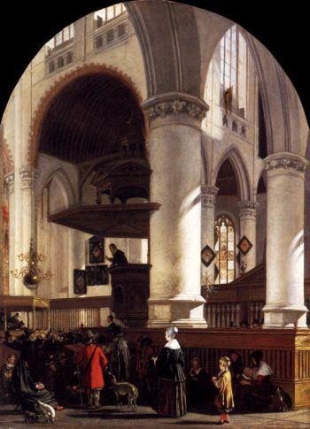 Interior of the Oude Kerk at Delft during a Sermon 1651 | Emanuel De Witte | oil painting
