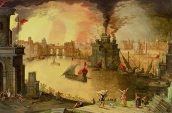 The Burning of Troy | Louis de Caullery | oil painting