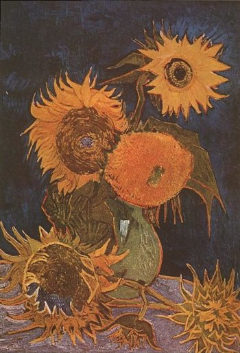 Still Life Vase with Five Sunflowers | Vincent Van Gogh | oil painting