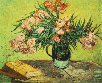 Still Life Vase with Oleanders and Books | Vincent Van Gogh | oil painting