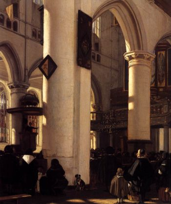 Interior of a Protestant Gothic Church (detail) 1669 | Emanuel De Witte | oil painting