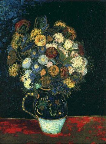 Still Life Vase with Zinnias | Vincent Van Gogh | oil painting
