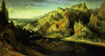 Mountain Landscape with a surprise attack 1585 | Lucas van Valckenborch | oil painting