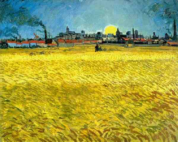 Sunset Wheat Fields Near Arles | Vincent Van Gogh | oil painting