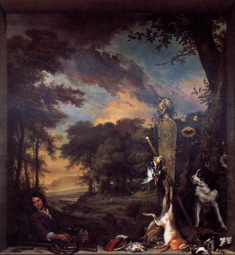 Landscape with Huntsman and Dead Game 1697 | Jan Weenix | oil painting
