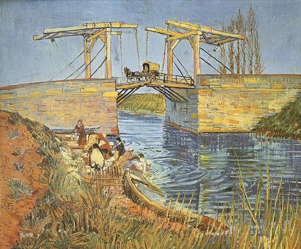 The Langlois Bridge at Arles with Women Washing | Vincent Van Gogh | oil painting