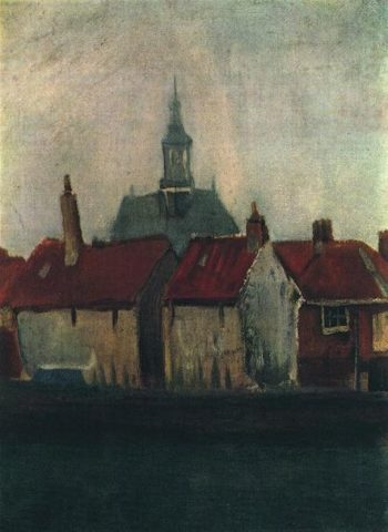 Cluster of Old Houses with the New Church in The Hague | Vincent Van Gogh | oil painting