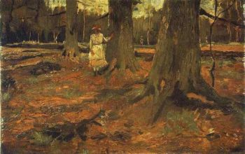 Girl in White in the Woods | Vincent Van Gogh | oil painting