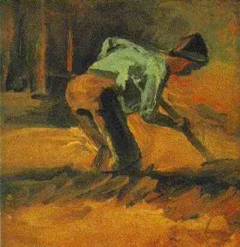 Man Stooping with Stick or Spade | Vincent Van Gogh | oil painting