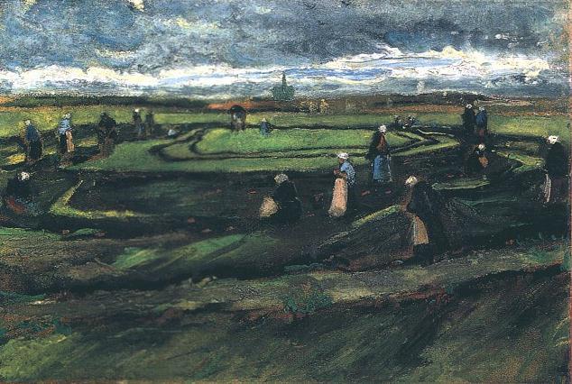 Women Mending Nets in the Dunes | Vincent Van Gogh | oil painting