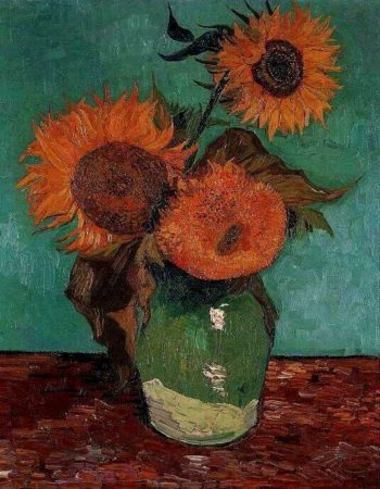 Three Sunflowers in a Vase | Vincent Van Gogh | oil painting