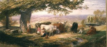 Milking in the Fields | Samuel Palmer | oil painting