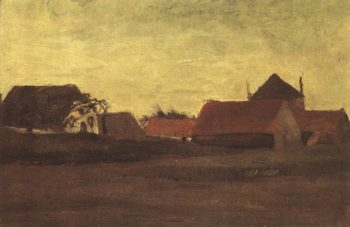 Farmhouses in Loosduinen near The Hague at Twilight | Vincent Van Gogh | oil painting